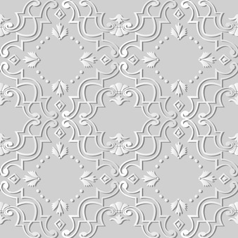 3d white paper art spiral curve cross frame flower dot, stylish decoration pattern.