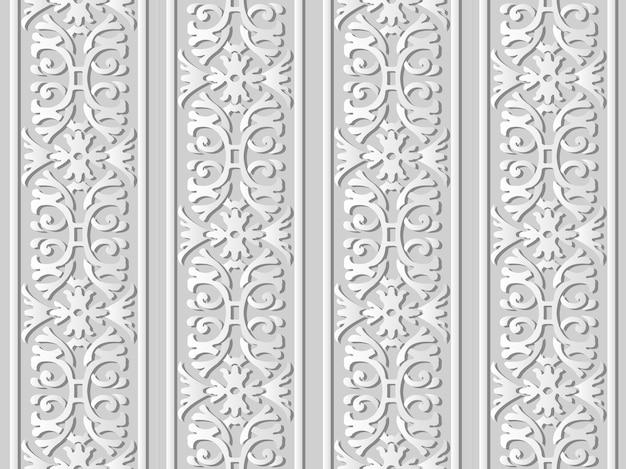 3d 백서 아트 나선형 곡선 크로스 가든 프레임 플라워 체인, 세련된 장식 패턴.
