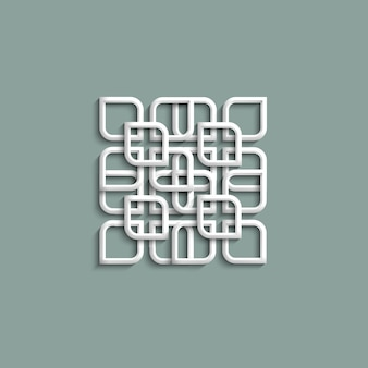 3d white pattern in arabic style