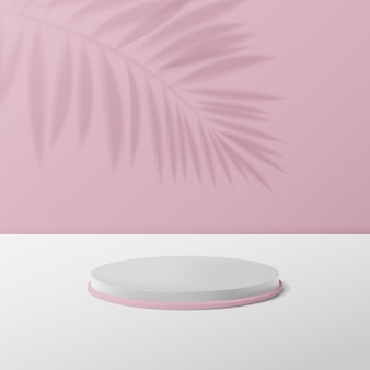 3d white and pink circle podium display.