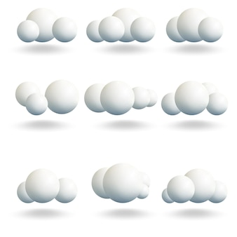 3d白い球の雲が設定されます。あなたのデザインのテンプレート。ベクトルイラスト