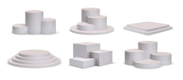 제품 쇼룸을 위한 3d 흰색 사각형 및 원형 연단 플랫폼. 단계, 승자 받침대 또는 쇼 스탠드 모형 벡터 세트가 있는 현실적인 무대