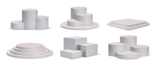3d white square and round podium platforms for product showroom. realistic stage with steps, winner pedestal or show stand mockup vector set