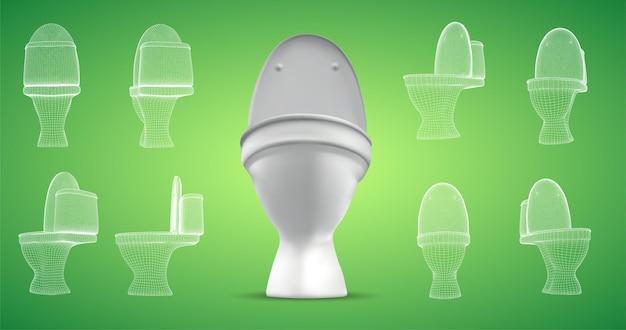 貯水槽付きの3d白いトイレ。 r