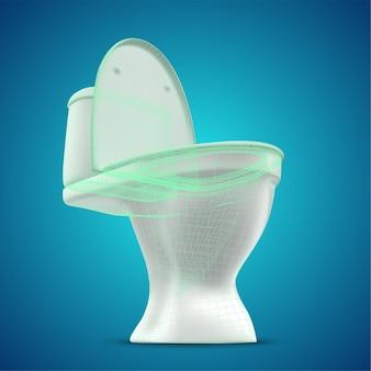 貯水槽付き3d白いトイレ