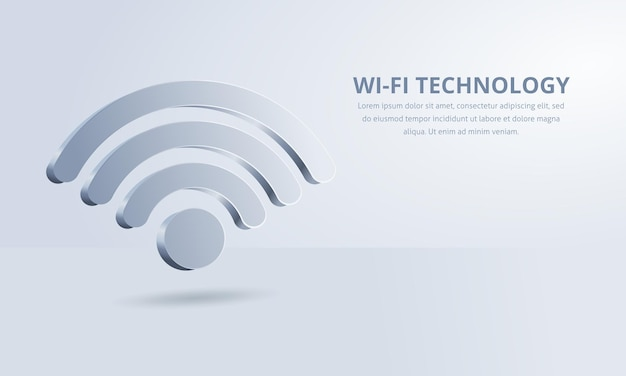 3d wifi symbol on a white background