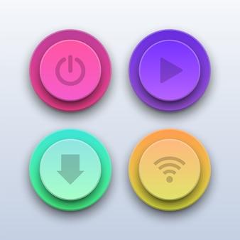 3dカラフルなボタン。電源、再生、ダウンロード、wifiボタン。