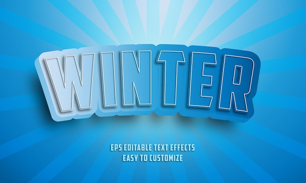 3d冬の編集可能なテキスト効果スタイル