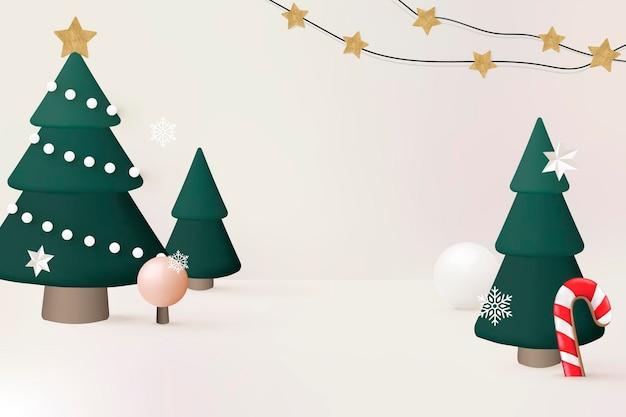 Sfondo di vacanze invernali 3d, albero di natale e vettore di bastoncini di zucchero