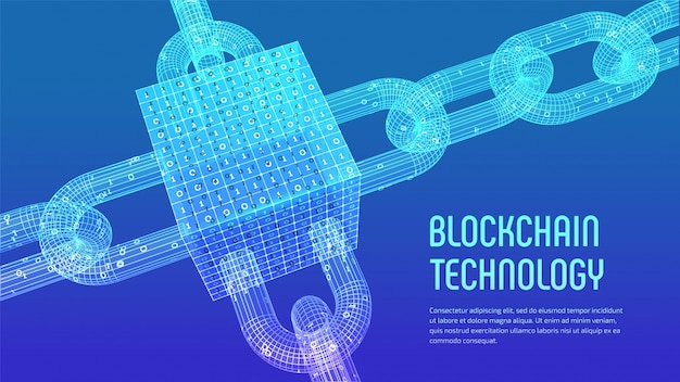 3d wireframe chain and isometric digital block with digital code