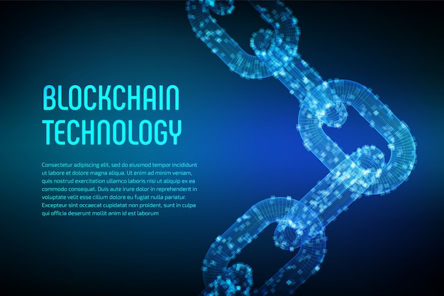 3d wireframe chain with digital blocks. block chain .