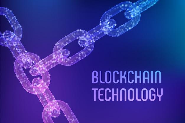 3d wireframe chain with digital blocks. blockchain concept.