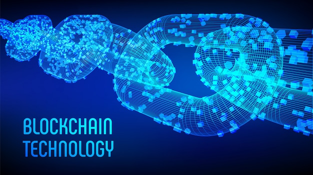 3d wireframe chain with digital blocks