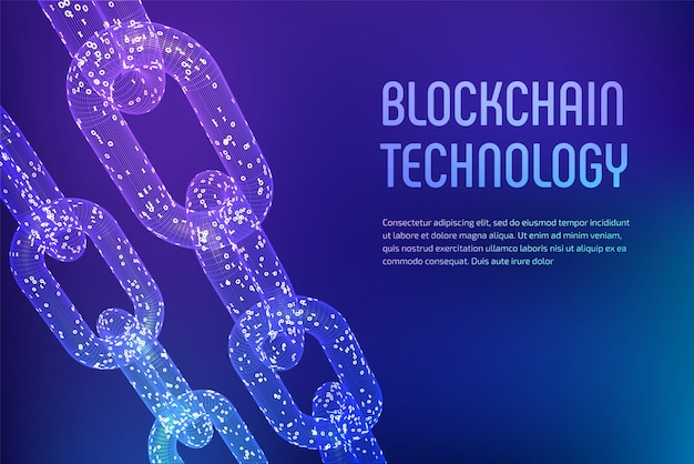 3d wireframe chain with digital code. blockchain concept.