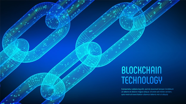 3d wireframe chain with digital code. blockchain .
