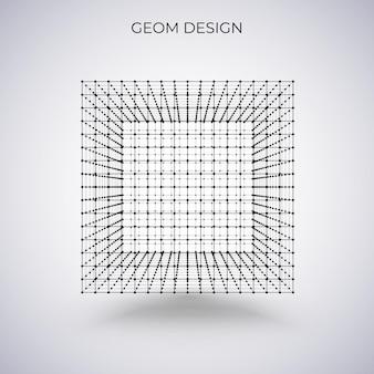 3d 와이어프레임 큐브입니다. 벡터 일러스트 레이 션. 기술 추상 그림입니다.