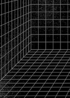 3d 와이어 프레임 격자 방 배경 벡터