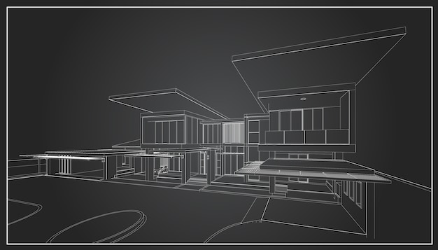 3d каркас здания. эскиз дизайн.вектор