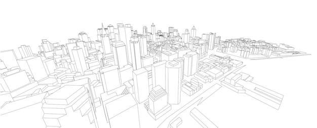 건물의 3d 와이어 프레임입니다.
