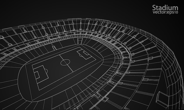 3d wireframe of stadium or sport arena