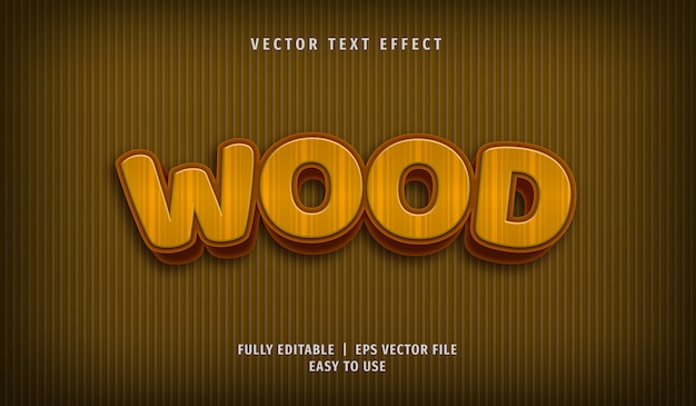3d wood text effect, editable text style