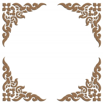 3d wooden carve of thai pattern frame