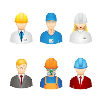 3d workers icons: builder, manager, engineer and technologist