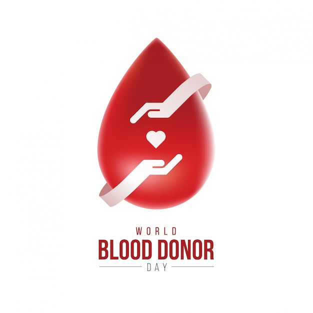 3d world blood donor day logo concept