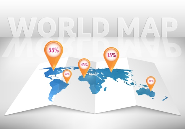 3d world map with marks.