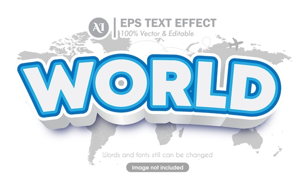 3d world travel style font text effect