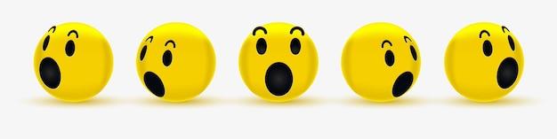 소셜 네트워크를위한 3d 와우 이모티콘 얼굴 디자인-궁금해하는 스마일리-놀란 이모티콘, 충격을받은 이모티콘