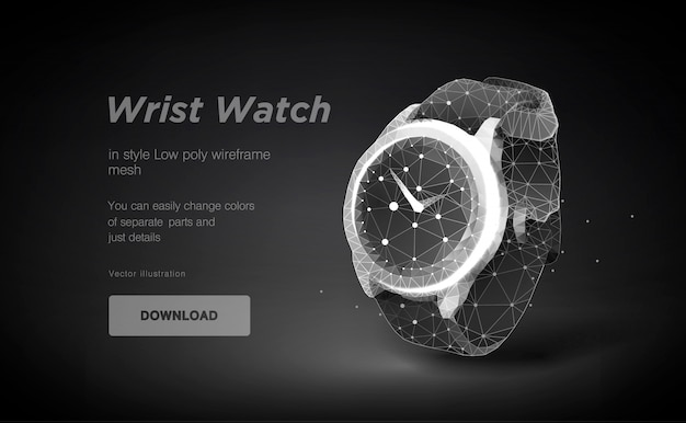 3d wrist watch low poly