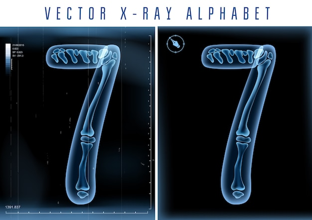 3d x-ray transparent alphabet use in logo or text. number 7 seven