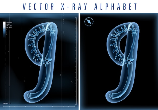 3d x-ray transparent alphabet use in logo or text. number nine 9