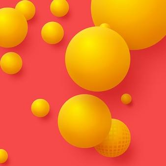 3d желтые шары на красном фоне. абстрактный фон плавающих сфер.