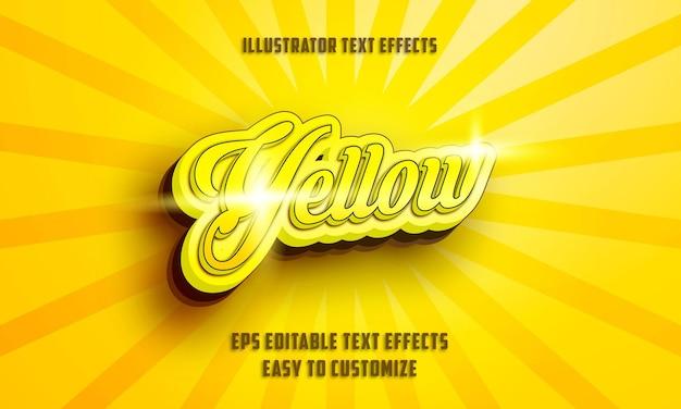 3d 노란색 필기체 스타일 편집 가능한 텍스트 효과 스타일