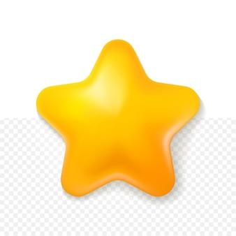 白い透明な背景を持つ3d黄色の星の漫画のスタイル
