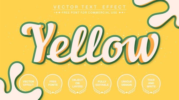3d yellow stroke editable text effect