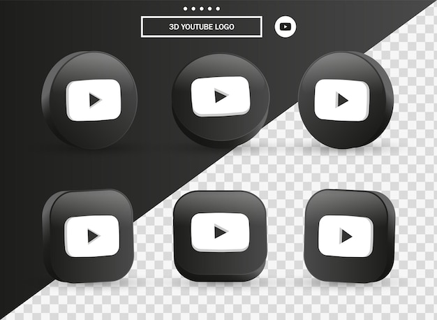 3d youtube logo icon in modern black circle and square for social media icons logos