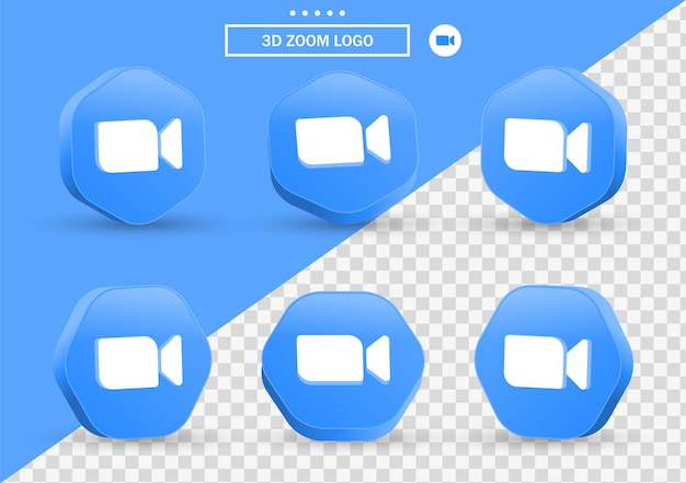 소셜 미디어 아이콘 로고에 대한 현대적인 스타일 프레임 및 다각형의 3d 확대/축소 회의 아이콘
