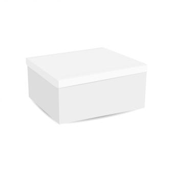 白い背景に分離された現実的な白いボックス。 3dイラスト