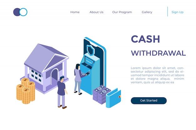 Иллюстрация оплаты наличными через банкомат в изометрической 3d стиле
