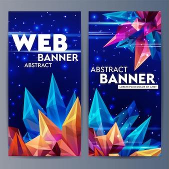 Веб-баннеры с гранеными кристаллами. стеклянный астероид в космическом пространстве. абстрактная геометрическая фигура оригами на синем. футуристический баннер. 3d стиль иллюстрации