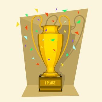 Иллюстрация трофей изометрическая 3d выиграть кубок.