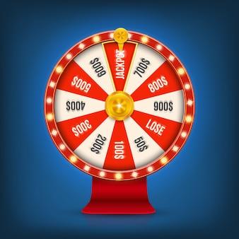 3dフォーチュンギャンブルカジノジャックポットホイールを回転させます。