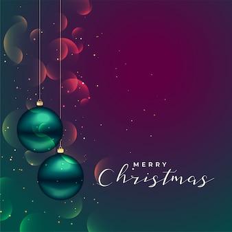3dボールの装飾と光沢のあるメリークリスマスの背景
