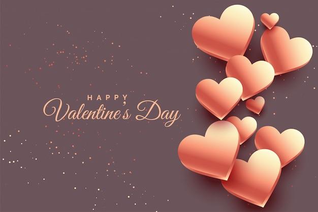 3d розовое золото сердца день святого валентина фон