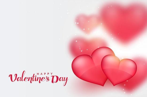 Красивые розовые 3d сердца день святого валентина фон