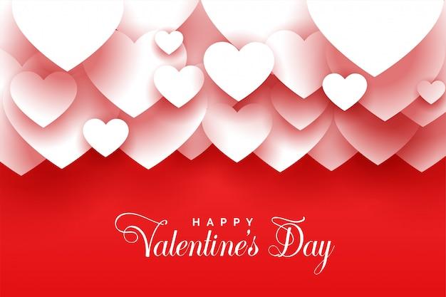 С днем святого валентина 3d сердца красный фон