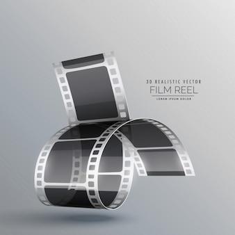 灰色の背景に3dフィルムロール